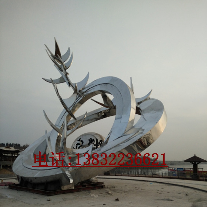 金属白钢抽象雕塑艺术品制作