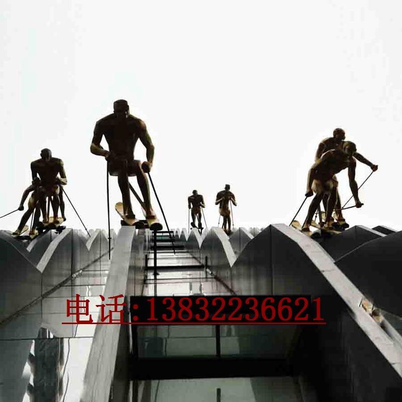 金属烤漆滑雪人雕塑艺术品制作