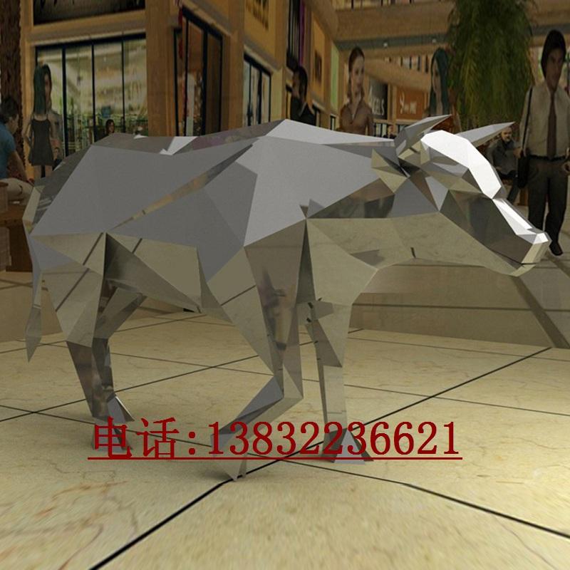 不锈钢几何切面创意动物牛雕塑制作